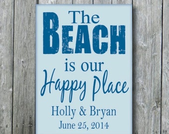 Personalized Beach Wedding Sign,Anniversary Engagement Bridal Shower Gift,Beach Coastal Nautical Wedding Decor,The Beach is Our Happy Place