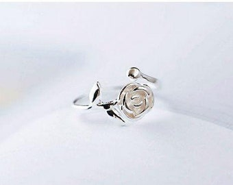 Chic Rose Retro Style Silver Plated Ring - Open/Adjustable - Lady Jewelry