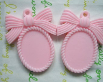 MATTE Bow cameo setting frame 2pcs Pastel Pink Fits 25mm x 18mm cameo