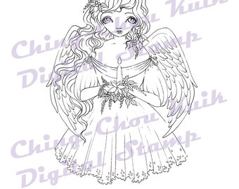 Christmas Candle - Instant Download / Poppy Witch Christmas Candle Angel Fantasy Fairy Girl Art by Ching-Chou Kuik