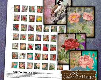 Grunge Roses Digital Collage Sheet, Scrabble Tile, Collage Sheet Art, Instant Download, Mixed Media, Printable Paper, Digital Images