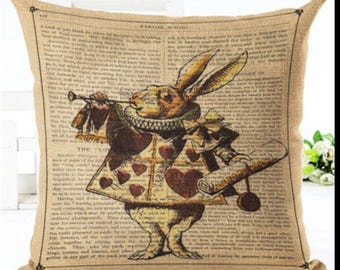 Alice in Wonderland Vintage White Rabbit Script Cushion Cover Cotton Blend Hessian Look
