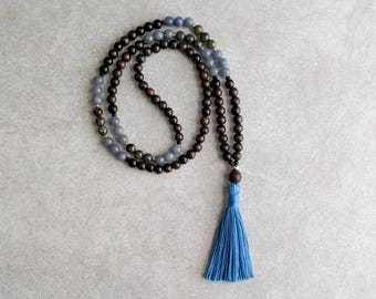 Ebony Mala with Blue Aventurine & Dragonsblood - Buddhist Prayer Beads - 108 Bead Mala - Meditation Necklace - Item # 905