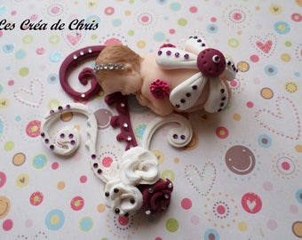 baby girl flowers polymer clay.