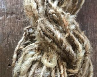 Onion Skin, naturally dyed Lincoln wool locks yarn,  50 yards, bulky chunky curly handspun rustic
