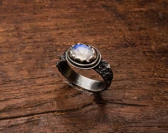 blue moonstone ring, organic silver ring, rustic silver ring, organic ring, handmade, size O 1/2, size 7 1/2, ready to ship, OOAK, handmade