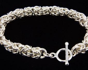 Byzantine Chain Maille Bracelet, 925 Sterling Silver Bracelet, Byzantine Chainmail Bracelet, Chainmaille Bracelet, Byzantine Weave, iDu