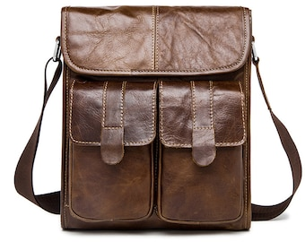 Genuine Leather bag /Messenger Bags Male /Small flap Vintage Leather Bag