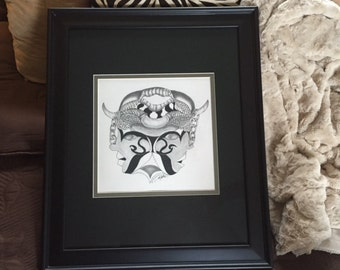 "Wall Art, Original Graphite Pencil Drawing - ""The Mask"" - Professionally Framed Artwork - Ready to Hang Home Decor"