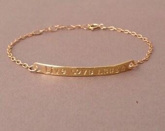 LIVE LOVE LAUGH Bar Gold or Silver Bracelet