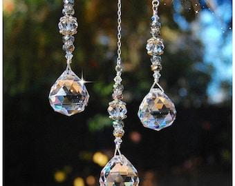 Rearview Mirror Hanging Prism Crystal, Car Charm, Window Crystal Sun Catcher, Ornament, Unique Beaded Suncatcher