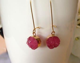 Druzy Earrings, Pink Druzy Earrings, Dangle Earrings, Gold Earrings, Gift Idea