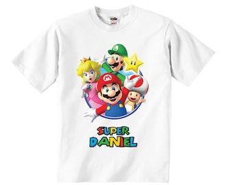 Personalized Super Mario Bros T-Shirt, Mario Bros Birthday T-Shirt, Mario Bros Birthday Party, Mario Bros T-Shirt, Super Mario Bros T-Shirt