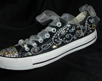 Custom Bedazzled Converse / Personalized Low Top Shoes