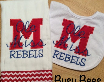 Ole Miss Rebels Burp Cloth and Bib Set