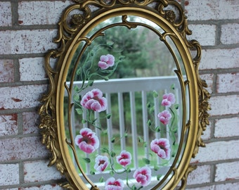 Vintage Syroco Wall Hanging Gold Mirror Frame Decorative Hollywood Regency Hand painted flowers