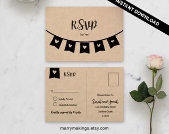printable, wedding template, diy, wedding rsvp, rsvp template, wedding, printable wedding, postcard, rsvp postcard, rsvp, flags, fun, 27