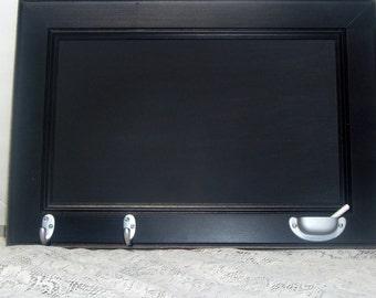 Rustic chalkboard shabby country chalkboard key rack coathook  black distressed  chalkboard tray