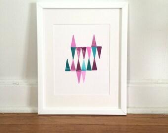Triangles #2 en rose, violet, bleu sarcelle Original