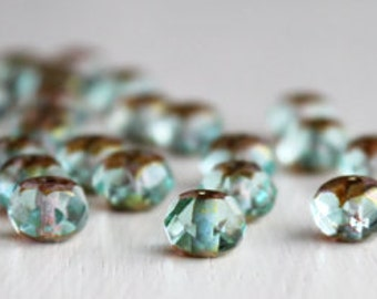 25 Aqua/Bronze 8x6mm Faceted Czech Glass Rondelles