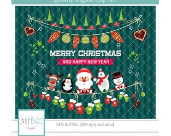 50% Off Sale Christmas clipart, Marry christmas clipart ,  holiday clipart , vector graphics, gift clip art, digital images-  CL 128