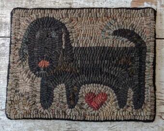 Folk Art Primitive Hooked Rug-Barney