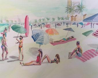 original abstract beach painting, , art, figurative, colorful, seaside, sunbathing, coastal art, original,