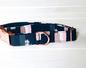 Gold Rose in Navy Blue with Pink Stripes, gold rose collar, girl dog collar, dog collars, handmade dog collar, girl dog collars, girl dogs