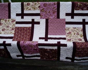 Lap quilt - Hand quilted Sofa Quilt - Plum Quilt - large Lap quilt