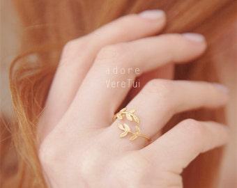 Adjustable Gold Leaf Wrap Ring