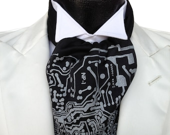 Circuit board cravat tie. Self tie, mens printed ascot. Your choice of colors, silver screenprint on black and more.