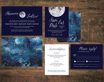 Constellation Wedding Invitation Set (Set of 25)   Starry Night Wedding Invitation, Invitation Suite, Blue