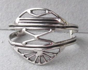Vintage Abstract Modern Sterling Silver Artisan Sterling Silver Cuff Bracelet, Sunrise Sunset?