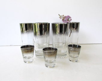 Mid Century Barware - Set of 9 Silver Ombre Lusterware or Mercury Fade High Ball Glasses and Shot Glasses - Tumblers - Silver Rimmed  -