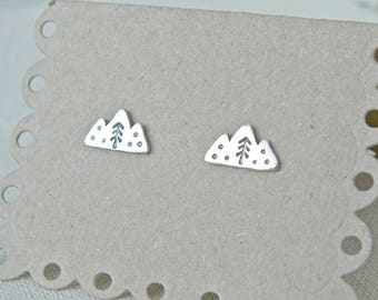 Sterling Silver Mountain Studs, Hand Cut Mountain Earrings, 925 Triple Mountain Stud Earrings, Post Earrings, Nature Jewellery