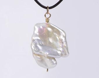 Baroque Pearl Pendant 14 K Gold Irregular Pearl High Luster Freshwater Pearl Jewelry