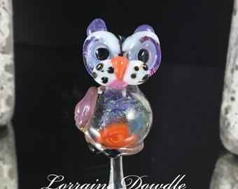 Lampwork artsy Kitty Cat bead - SRA Lorraine Dowdle