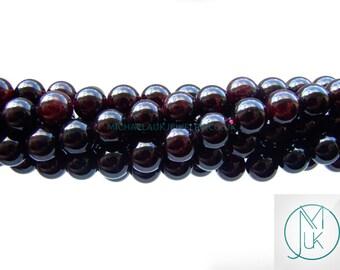 Garnet Natural Gemstone Rounds Beads 8mm Jewellery Making (47-50 Beads) A Grade Free Uk Shipping