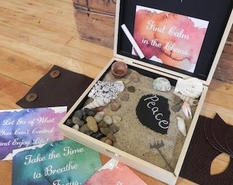 Zen box, Relaxation Sand box, desk top sand box, zen desktop box, zen garden, Inspirational Cards, Co-worker gift, christmas present
