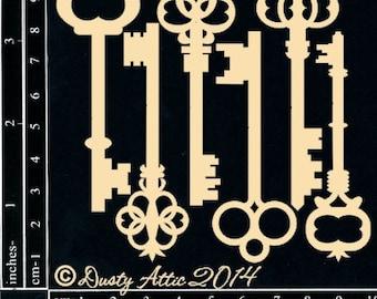 Dusty Attic, DA03920, Vintage Keys, Scrapbooking, Chipboard, Card Making, Mixed Media, DYI crafts