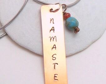 Namaste Necklace   Copper Yoga Necklace   Copper Namaste Pendant   Yoga Pendant   Zen Yoga Jewelry   Minimalist Yoga Necklace   Zen Necklace