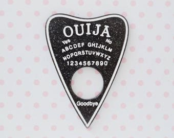 59mm Pastel Goth Creepy Cute Black Glitter Ouija Board Planchette Flatback Resin Decoden Cabochon - 1 piece