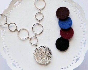 Aromatherapy diffuser locket necklace, silver colored, felt pads included