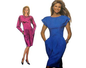 Women's Dress Sewing Pattern, Short Cap or Long Sleeves, Misses' Size 8 Bust 31 from Christie Brinkley Collection Uncut Simplicity 8908