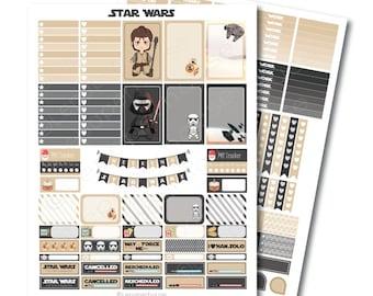MAMBI Star Wars druckbare Planner Aufkleber Set, glücklich Planner, sofort-Download