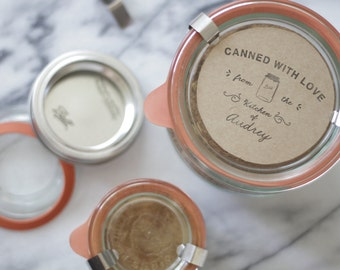 Canning Gift Tag - Custom Wood Stamp - Cooking - Rubber Stamp - Kitchen - Homemade - Recipe - Personalized - Canned - Mason Jar - DIY
