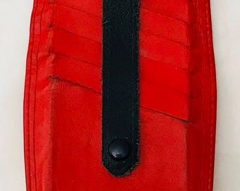 Eximious of London Credit Card Case Holder Red Black Leather Vintage