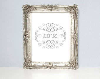 Love, love print, love art, white and gold, silver foil, home decor, love poster, engagement gift, valentines gift, wedding gift, gold foil