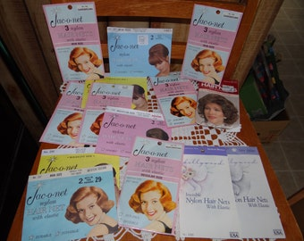 Big Lot of 14 Vintage Hair Nets..Big Variety of Color and Style