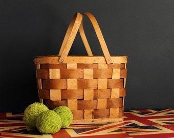 Vintage Picnic Basket Weaved Bent Wood Medium Size